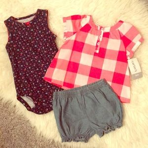 NWT Adorable Carter's 3 Piece Gingham Set